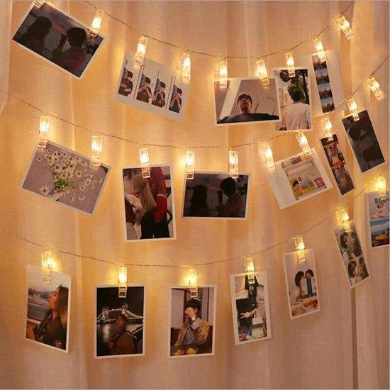 Foto Licht Slinger • 20 LEDS/Clips • 2 Meter • Warm Wit • Foto lichtslinger • Foto lichtsnoer • Decoreren • Foto Ophangen • Foto's Ophangen • Kerst • Feest • Foto Clip • Foto Licht • Batterij