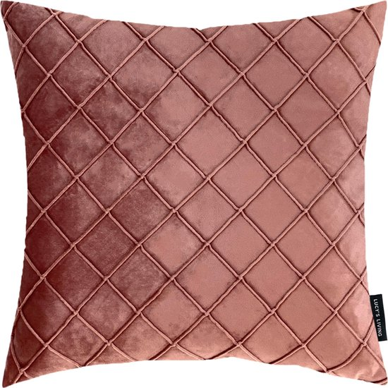Lucy's Living Luxe Velvet Sierkussen VLUX - Oud roze - 50 x 50 cm - polyester - linnen - kussen - kussens - kussens woonkamer - wonen - interieu