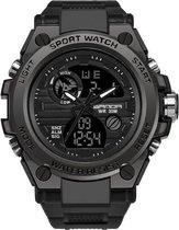Horloge - Waterdicht - Stoer - Mannen - Rubberen band - Mat Zwart - Trendy - Military watch - Cadeau Tip