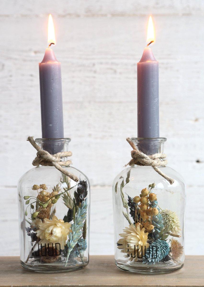 Droogbloemen in Glas met Grijze Kaarsen - Decoratieve Flessen met Kaars - Droogbloemen met vaas - 2