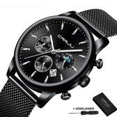 CRRJU® Horloges voor Mannen Herenhorloge Jongens Heren Watch Horloge – Horlogebox Geschenkdoos – Zwart Zilver