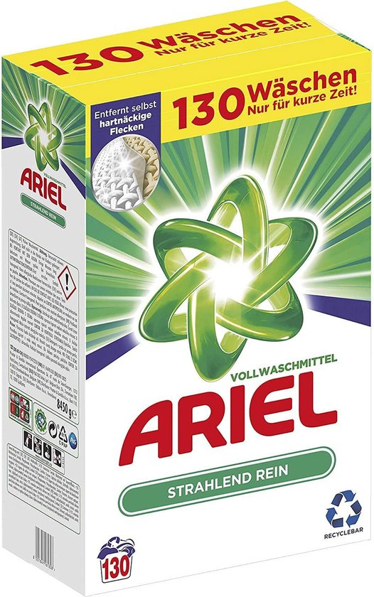 Ariel waspoeder Voordeelverpakking | 130 wasbeurten 8,45KG - Ariel Regular Waspoeder | Voor alle soorten was
