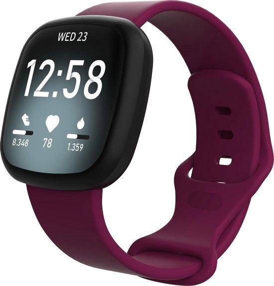 Fitbit Versa 3 / Sense sport band - wijnrood - SM - Horlogeband Armband Polsband