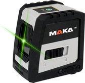 MAKA Kruislijnlaser op accu - Groene laser - Magnetisch op te hangen - Laserwaterpas - Lijnlaser - Bouwlaser