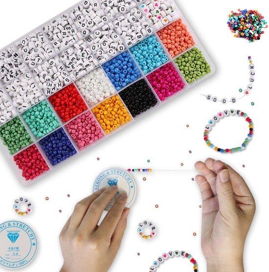 Afbeelding van [Lea] Kralen Sieraden Maken Pakket set - volwassenen & kinderen - 5000 kleuren en Letterkralen - Alfabet letters - Inclusief elastiek speelgoed