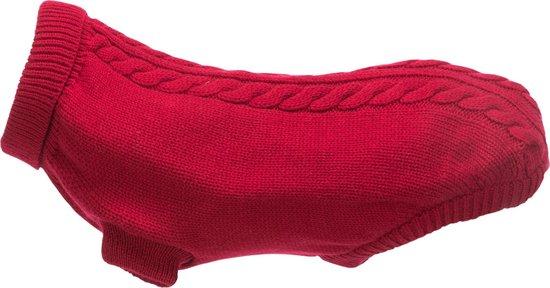 Hondentrui met kabelmotief - Rood - Nekomvang: 34 cm Buikomvang: 44 cm Ruglengte: 40 cm