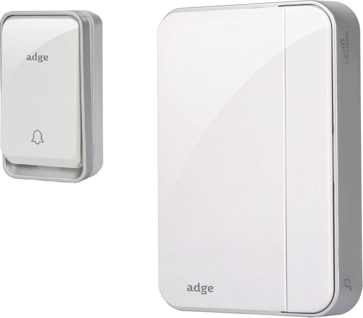 Adge - Draadloze Deurbel met 1 Ontvanger - Plug&Play - Regelbaar Volume / Melodie - Geen batterijen nodig