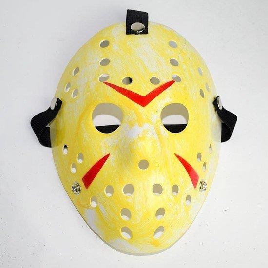 Jason Voorhees Hockey Masker - Halloween Masker - Horror Film Friday The 13th - Cosplay Masker - Verkleedmasker - Geel met Rood