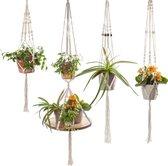 Viva la Home Plantenhanger Macramé - 4 stuks - Plantenpot/hangpot houder - Voor Binnen en Buiten - Planten/Hangplant Decoratie - Wit Katoen Touw met Kralen