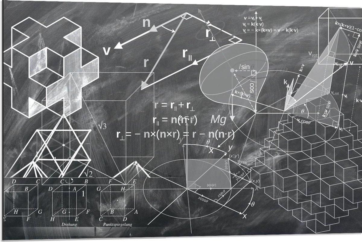 Dibond - Geometrie op Krijtbord  - 90x60cm Foto op Aluminium (Wanddecoratie van metaal)