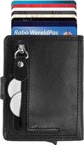 Statch Luxe Portemonnee Uitschuifbare Pasjeshouder – Aluminium & Leer Creditcardhouder / Kaarthouder  voor mannen en vrouwen - Anti-Skim / RFID Card Protector  10 tot 11 Pasjes - Zwart