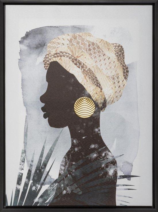 Canvas Doek 'Afrikaanse vrouw' met metalen oorbel goud met lijst - Schilderij Afrika Zwart & Goud