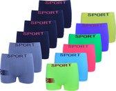 Microfiber Boxershort jongens SJ06N - Jongens ondergoed - VOORDELIGE 12 PACK 10-12 jaar 146/158