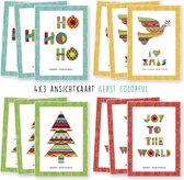 Kerstkaarten - kaartenset - ansichtkaarten - Kerst colorful - 12 stuks - wenskaarten - kimago.nl