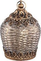 Vieve glass brown led lantern round