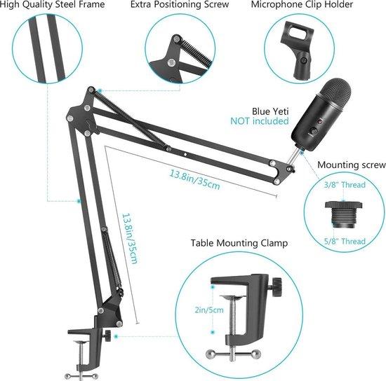 Broadcast microfoon arm voor tafelmontage
