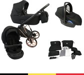 P'tit Chou Novara Black Roze Gold- Complete 3 in 1 Kinderwagen set - Buggy + Autostoel + Incl. Accessoires