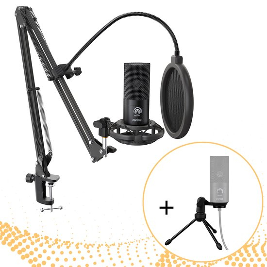 Fifine T669 - Microfoon - Condensator USB Microfoon met studio arm & driepoot statief - Podcast microfoon - Gaming - PC - Laptop – Playstation