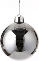 1x Grote kunststof kerstbal zilver 20 cm - Groot formaat zilveren kerstballen