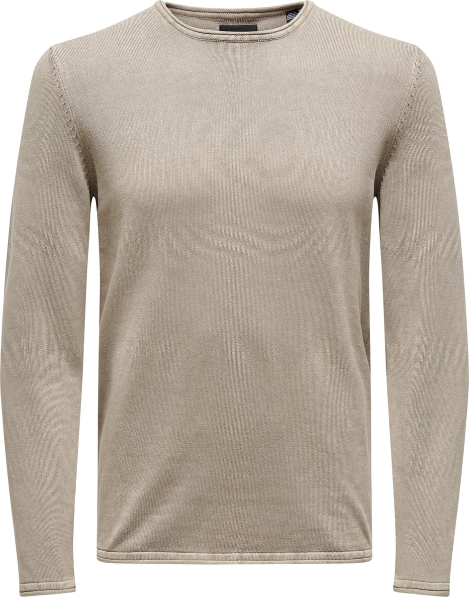 ONLY & SONS ONSGARSON LIFE 12 WASH CREW KNIT NOOS - Chinchilla - Mannen - Maat M