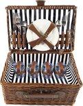 Picknickmand 4|persoons | 21|delig | Blauw/Wit Gestreept | Rieten Mand