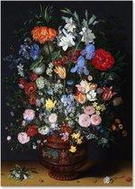 Graphic Message - Schilderij op Canvas - Bloemen in een Vaas - Jan Brueghel - Woonkamer - Kunst
