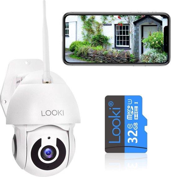Looki® 360PRO Full HD draadloze IP camera met 32GB SD-kaart & Cloud opslag voor buiten - 1080P PTZ outdoor bewakingscamera met app en bewegingsdetectie – IP66 waterbestendig – Two-Way audio