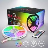 B.K.Licht - LED Strip 3m - RGB - neon verlichting - LED Stripes - lichtketen - lint - strepen - LED-strip light - LED-lichtstrip - kerstverlichting - zelfklevend - kleurverandering - verkortbaar -  afstandsbediening - wit