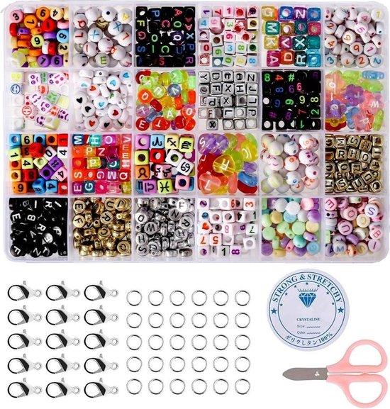 Fako Bijoux® - DIY Kralen Set - Letterkralen - Letter Beads - Acryl - Alfabet Kralen - Sieraden Maken - Super Mix