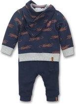 Dirkje - 2 pce Babysuit + scarf - Navy + grey melee + aop - Mannen - Maat 68