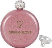 LITTLE MIX PINK - Drinkfles - RVS -  glittercoating - 150ml