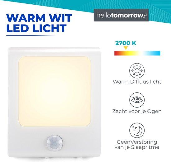 Nachtlampje Stopcontact Bewegingssensor - Lampje Voor Baby, Kind, Volwassenen & Slaapkamer - Warm Wit Led Verlichting - 2 Stuks + 2x Kinder Beveiliging