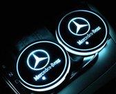 Customer Car Logo LED Mercedes onderzetters - Auto binnenverlichting - 7 Verschillende kleuren LED - Opladen via USB - 2 stuks