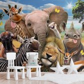 Wilde dieren  Jungle - Plezier - Dierentuin - grappig  - Fotobehang Vlies 384 x 260 cm