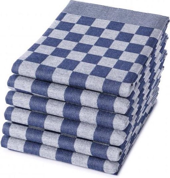 Homéé Blokdoeken pompdoeken - Theedoeken  Blauw / wit - set van 6 stuks - 65 x 65 cm
