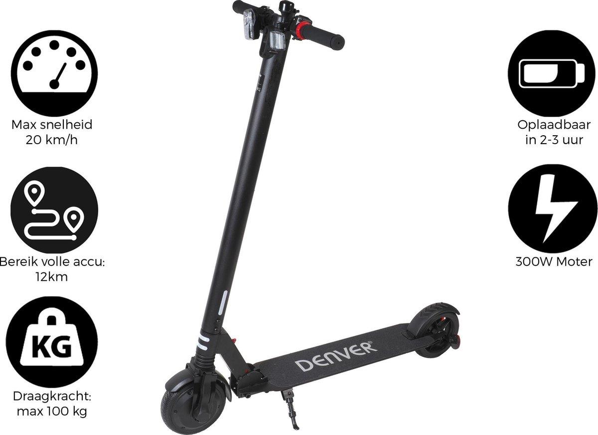 """Denver SEL-65220 - Elektrische step - 6.5"""" Banden  - Inklapbaar - Met LED verlichting - Zwart"""