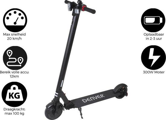 """Denver SEL-65220 / Elektrische step / 6.5"""" Banden / E-Step met aluminium frame / Inklapbaar / Met LED verlichting voor & achter / E-Scooter / Zwart"""
