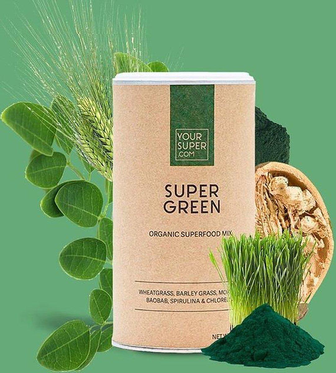 Your Super - SUPER GREEN - Organic Superfood Mix - Plantaardig - Boost immuunsysteem - Prebioticum