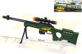 Sniper Rifle AWM geweer met led lichtjes, trilling en schietgeluiden - scherpschutters speelgoedgeweer 74.5 CM (incl. batterijen)