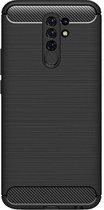 Shop4 - Xiaomi Redmi 9 Hoesje - Zachte Back Case Brushed Carbon Zwart