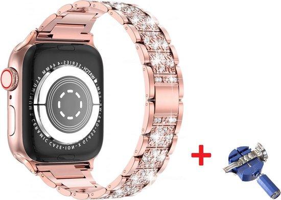 Luxe Metalen Armband Voor Apple Watch Series 1/2/3/4/5/6/SE 38/40 mm Horloge Bandje - iWatch Schakel Polsband Strap RVS - Met Horlogeband Inkortset - Stainless Steel Watch Band - One-Size - 3D Diamond Design - Rosegoud