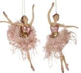 Viv! Home Luxuries Kerstbal ballerina's met tule rok - 2 stuks - groot - roze - 20cm - topkwaliteit