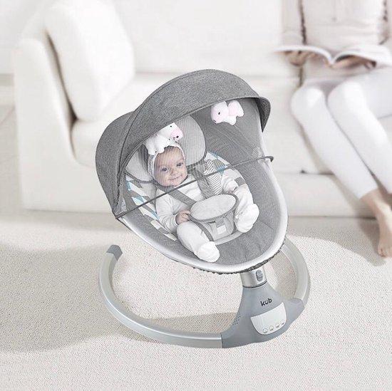 HiBaby Wipstoel Elektrisch Grijs - schommelstoel - Zonnekap met klamboe- met afstandbediening