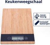 Perow Bamboe Digitale Keukenweegschaal - Precisie Weegschaal - Duurzame Keuken Weegschaal - Inclusief Batterijen