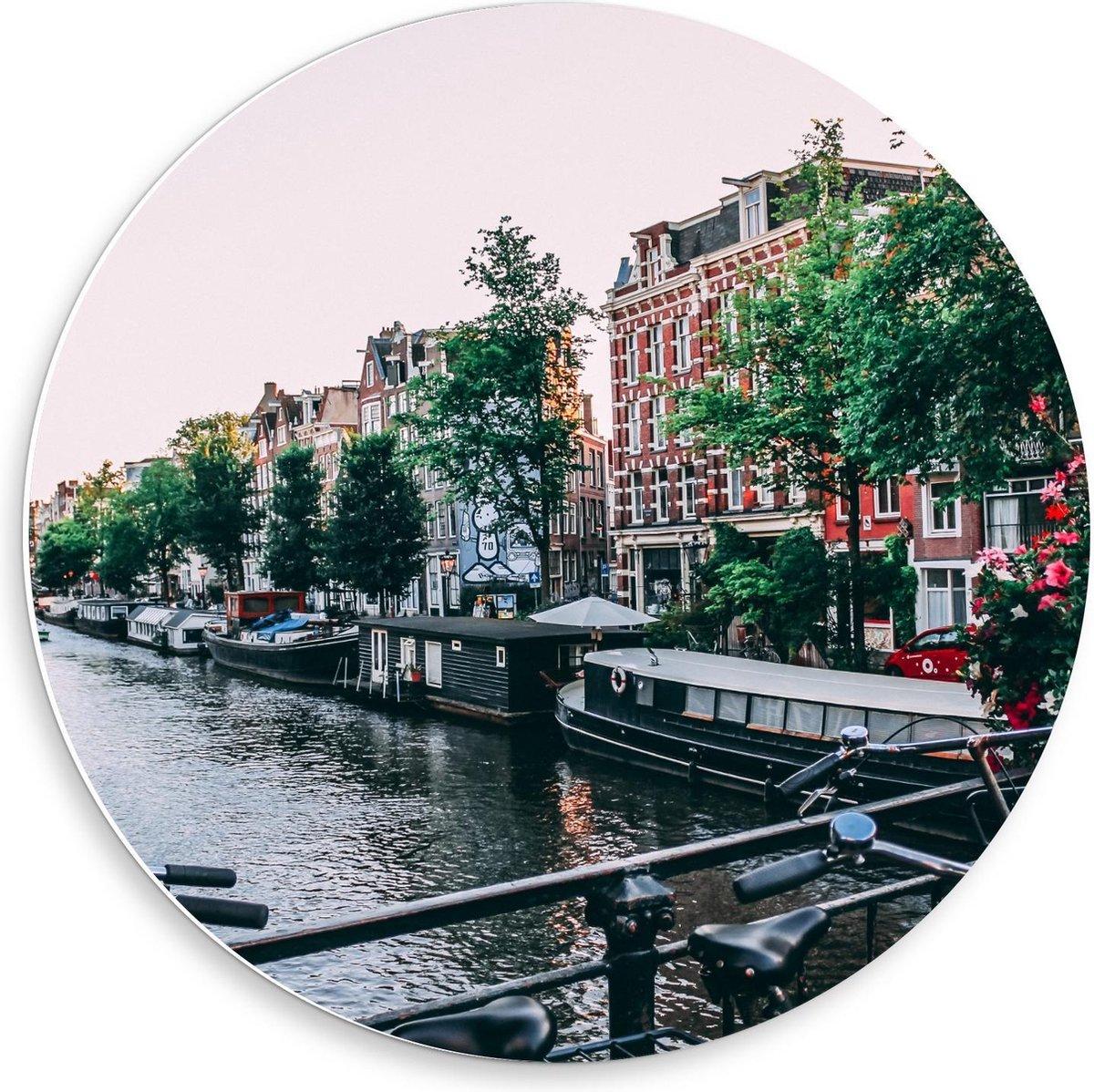 Forex Wandcirkel - Amsterdamse Grachten - 50x50cm Foto op Wandcirkel (met ophangsysteem)