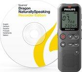 Philips VoiceTracer Audiorecorder DVT 1110 PC DNS, Dictaphone, Nuance Dragon Spraakherkenningsoftware DVR, 4GB, Zwart