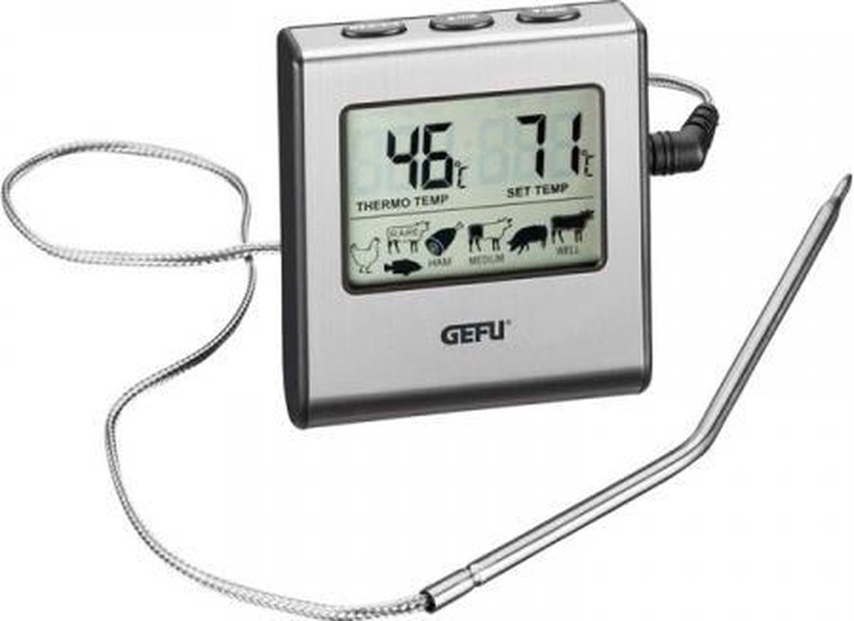 GEFU Thermometer - Digitaal - RVS - Zilver - Incl. timer + alarm