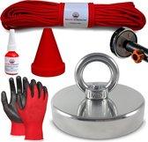 Vismagneet set - 400KG - 20m touw - Handschoenen - Prikstok adapter - Beschermkap - Magneetvissen starterspakket - Magneet Schroefborgmiddel