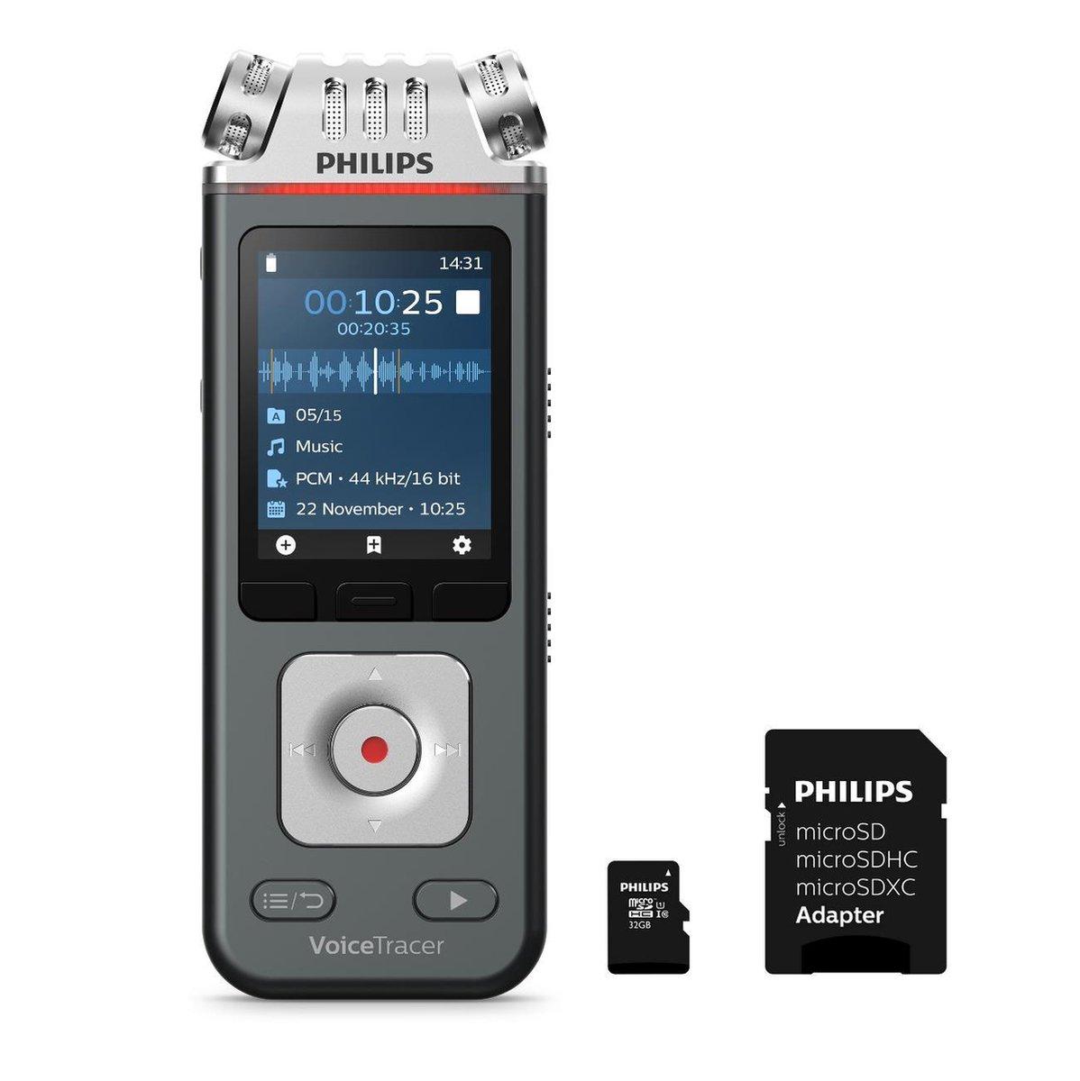 Philips VoiceTracer Audiorecorder DVT61132   3MIC Stereo MP3/PCM - 24-bits/96 kHz, 8GB, Smartphone app, USB-C, Kleurendisplay, Accu, incl. microSD 32 GB kaart - adapter