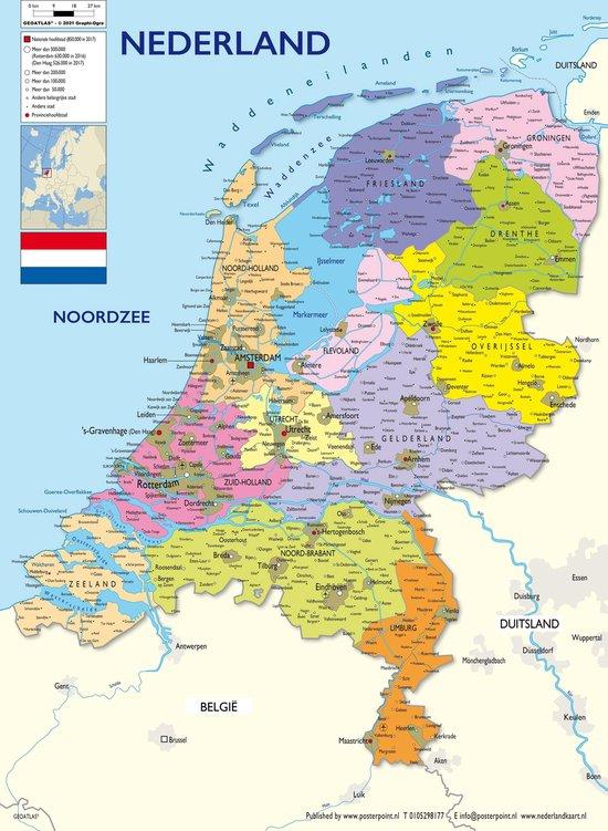 Nederland Kaart Poster XXL -Extra groot- Formaat 100 x 140 cm - druk 2021 - Multi- Wanddecoratie